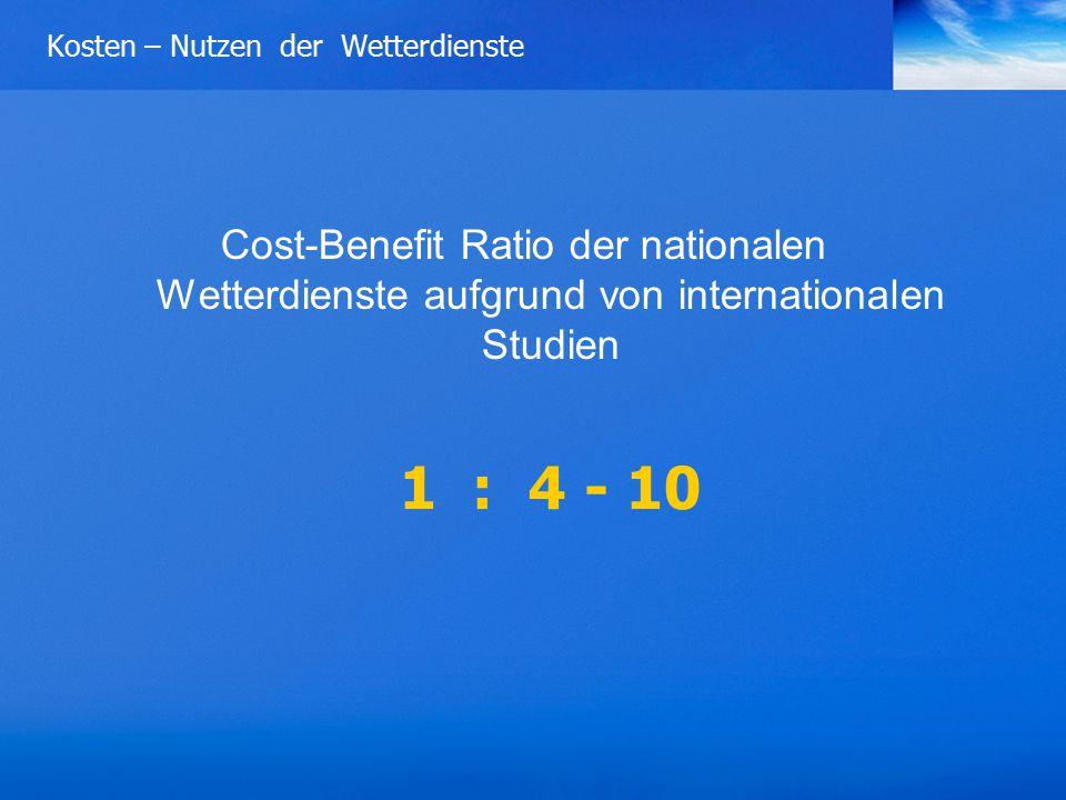 Kosten – Nutzen der Wetterdienste Cost-Benefit Ratio der nationalen Wetterdienste aufgrund von internationalen Studien 1 : 4 - 10