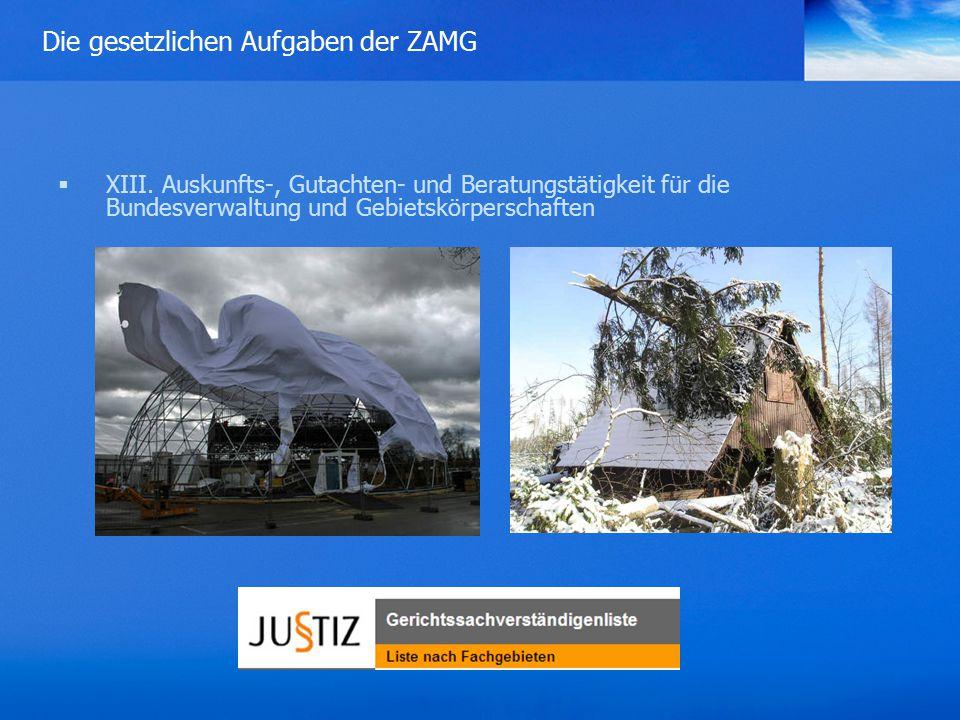 Die gesetzlichen Aufgaben der ZAMG  XIII.