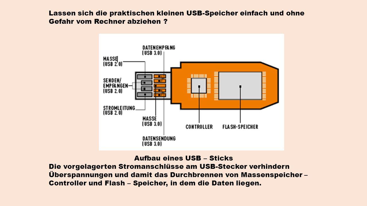 Lassen sich die praktischen kleinen USB-Speicher einfach und ohne Gefahr vom Rechner abziehen .