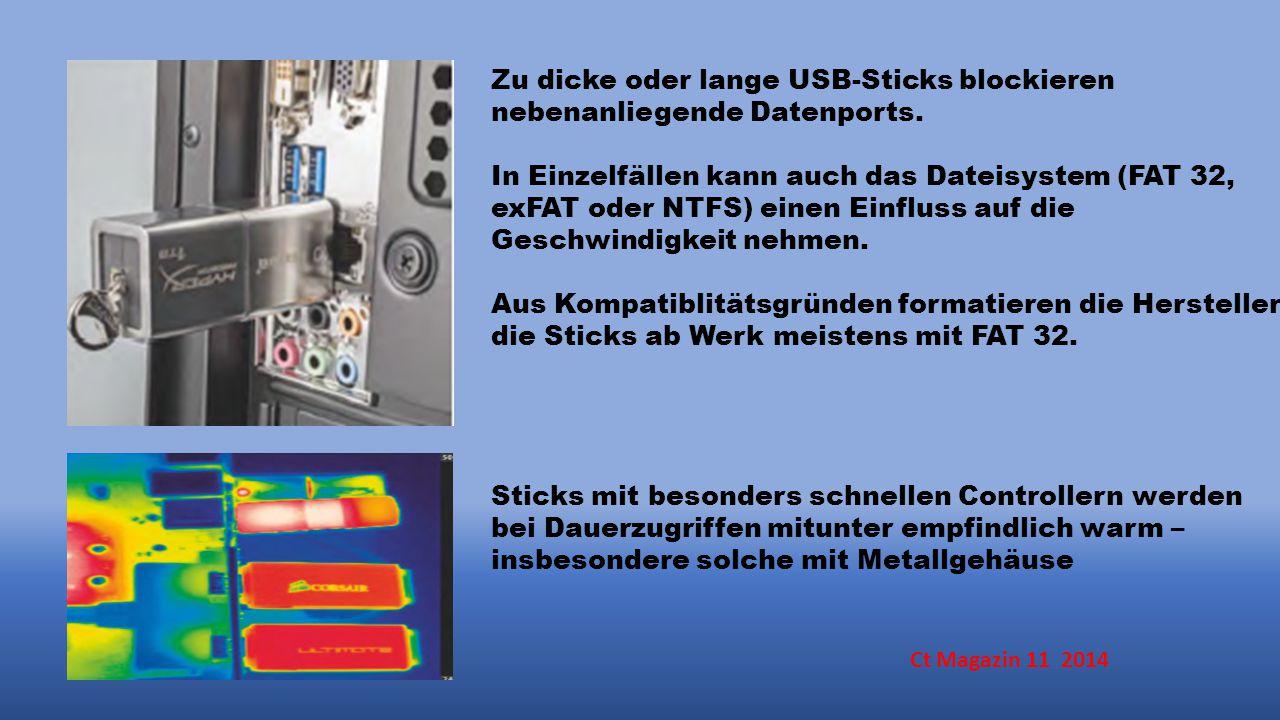 Zu dicke oder lange USB-Sticks blockieren nebenanliegende Datenports.