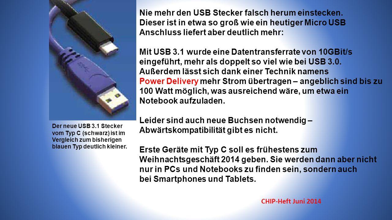 Der neue USB 3.1 Stecker vom Typ C (schwarz) ist im Vergleich zum bisherigen blauen Typ deutlich kleiner.