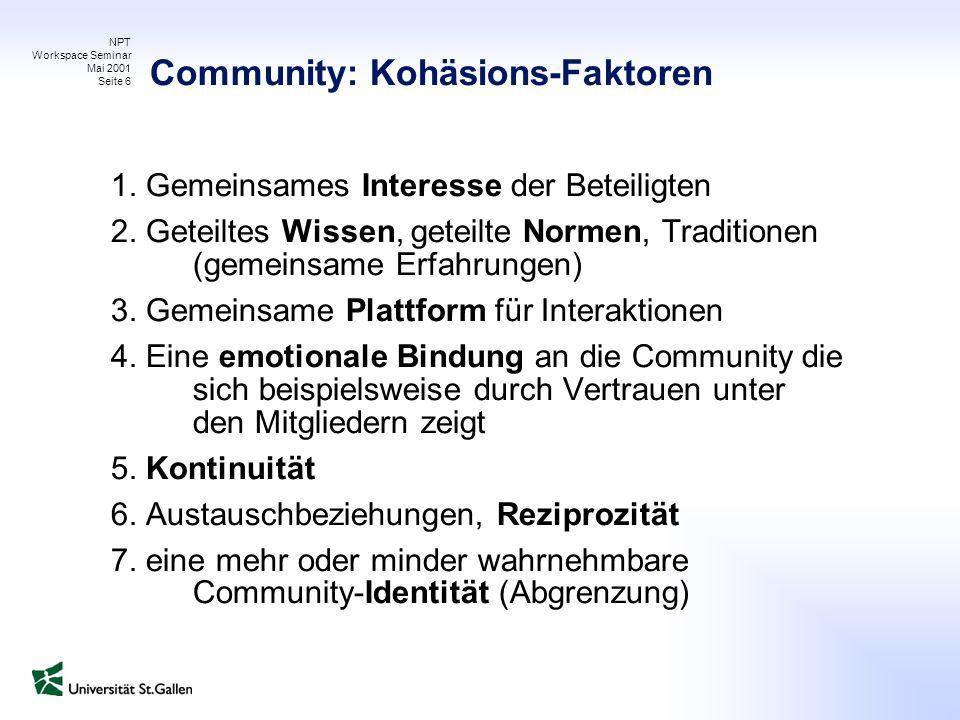 NPT Workspace Seminar Mai 2001 Seite 6 Community: Kohäsions-Faktoren 1. Gemeinsames Interesse der Beteiligten 2. Geteiltes Wissen, geteilte Normen, Tr