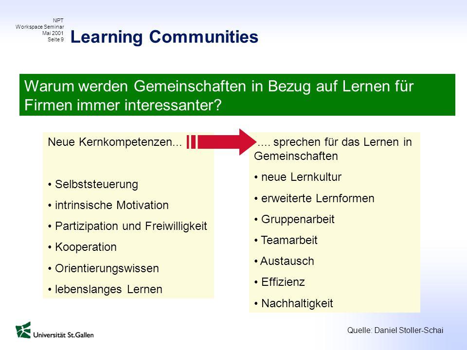 NPT Workspace Seminar Mai 2001 Seite 9 Warum werden Gemeinschaften in Bezug auf Lernen für Firmen immer interessanter? Neue Kernkompetenzen... Selbsts