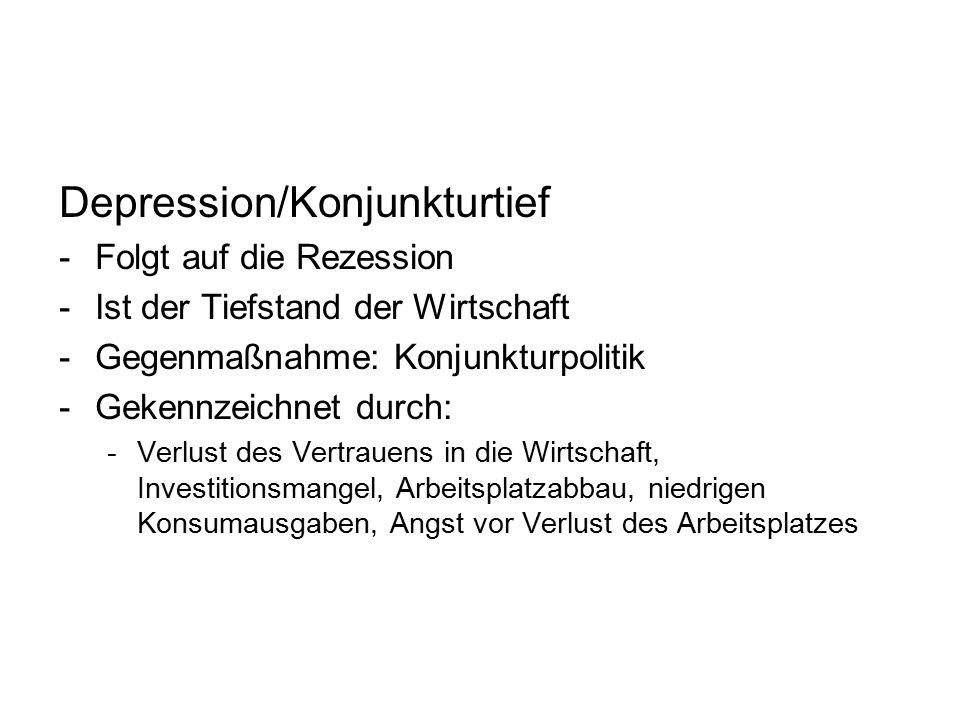 Depression/Konjunkturtief -Folgt auf die Rezession -Ist der Tiefstand der Wirtschaft -Gegenmaßnahme: Konjunkturpolitik -Gekennzeichnet durch: -Verlust