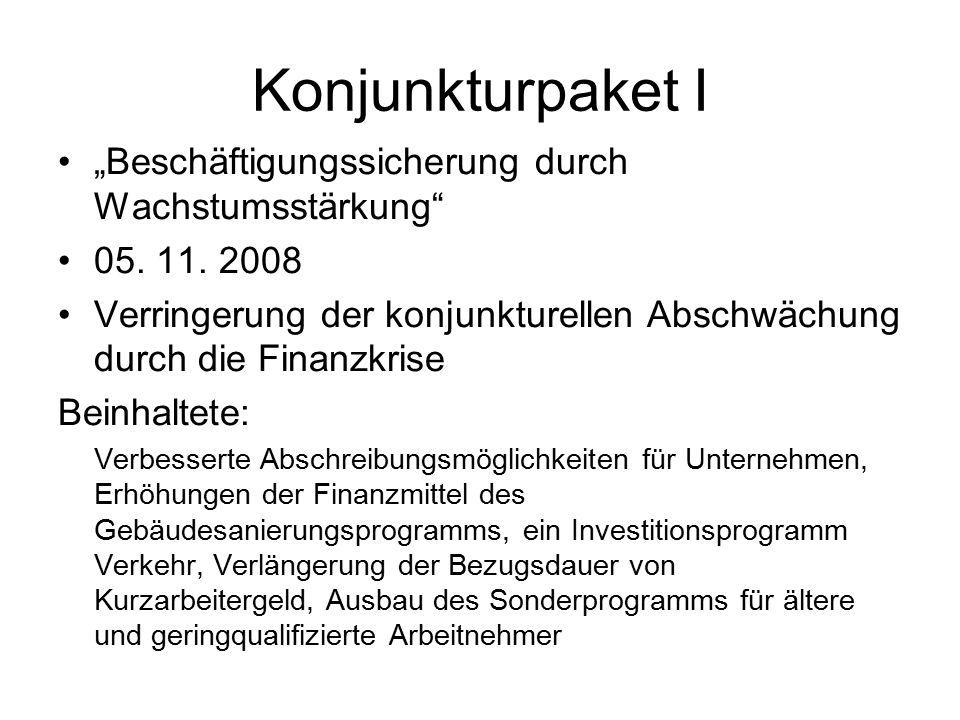 """Konjunkturpaket I """"Beschäftigungssicherung durch Wachstumsstärkung"""" 05. 11. 2008 Verringerung der konjunkturellen Abschwächung durch die Finanzkrise B"""