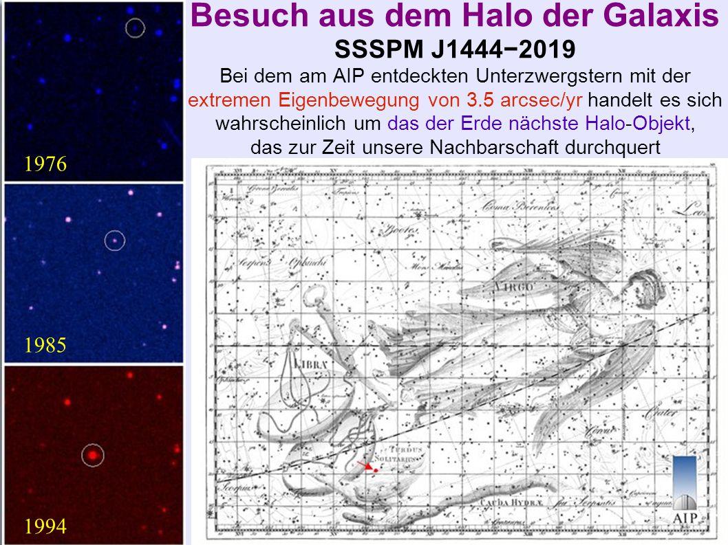 Besuch aus dem Halo der Galaxis SSSPM J1444−2019 Bei dem am AIP entdeckten Unterzwergstern mit der extremen Eigenbewegung von 3.5 arcsec/yr handelt es sich wahrscheinlich um das der Erde nächste Halo-Objekt, das zur Zeit unsere Nachbarschaft durchquert 1976 1985 1994