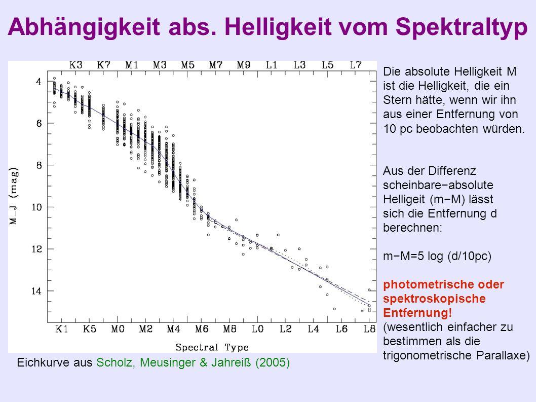 Abhängigkeit abs. Helligkeit vom Spektraltyp Eichkurve aus Scholz, Meusinger & Jahreiß (2005) Die absolute Helligkeit M ist die Helligkeit, die ein St