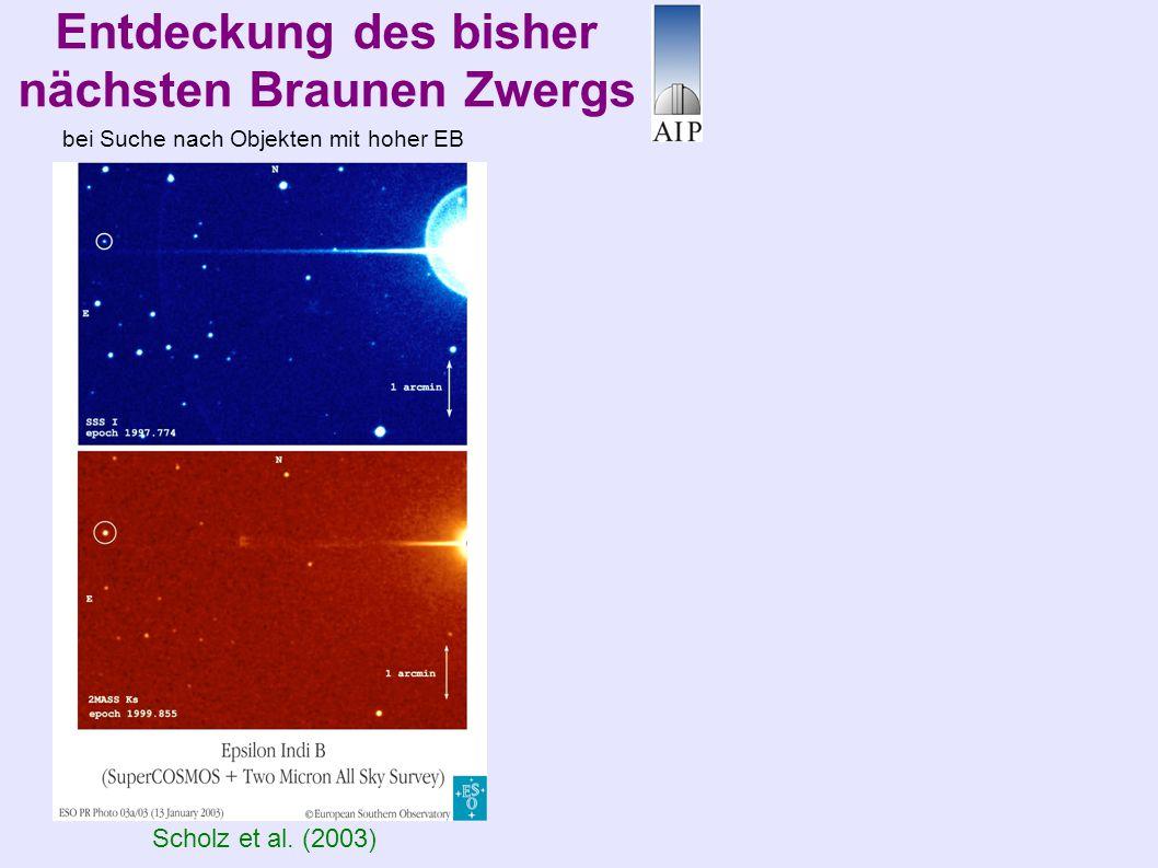 Entdeckung des bisher nächsten Braunen Zwergs Scholz et al. (2003) bei Suche nach Objekten mit hoher EB