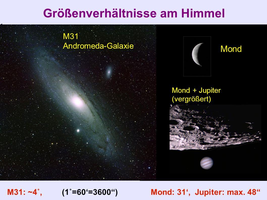 "Größenverhältnisse am Himmel M31: ~4˚, (1˚=60'=3600"") Mond: 31', Jupiter: max. 48"" M31 Andromeda-Galaxie Mond Mond + Jupiter (vergrößert)"
