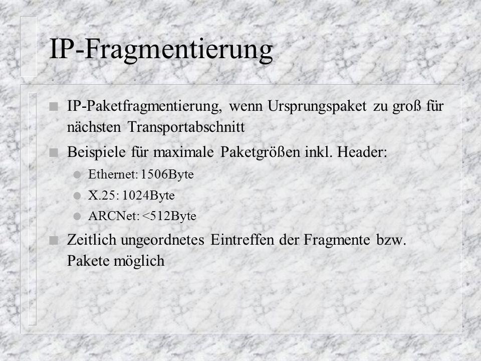 IP-Fragmentierung n IP-Paketfragmentierung, wenn Ursprungspaket zu groß für nächsten Transportabschnitt n Beispiele für maximale Paketgrößen inkl.