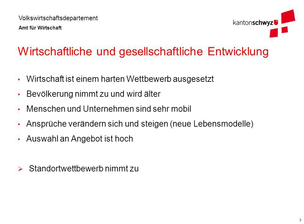 """Volkswirtschaftsdepartement Amt für Wirtschaft 4 Strategie """"Wirtschaft und Wohnen im Kanton Schwyz"""