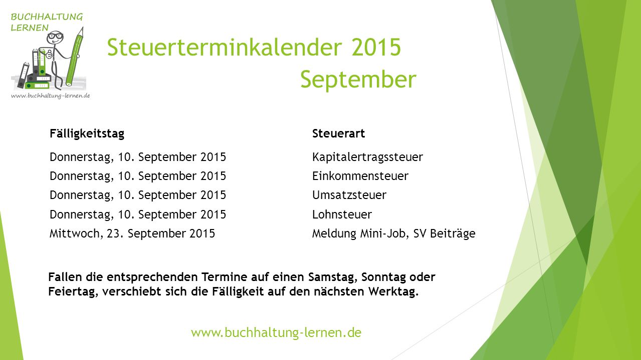 Steuerterminkalender 2015 September FälligkeitstagSteuerart Donnerstag, 10. September 2015Kapitalertragssteuer Donnerstag, 10. September 2015Einkommen