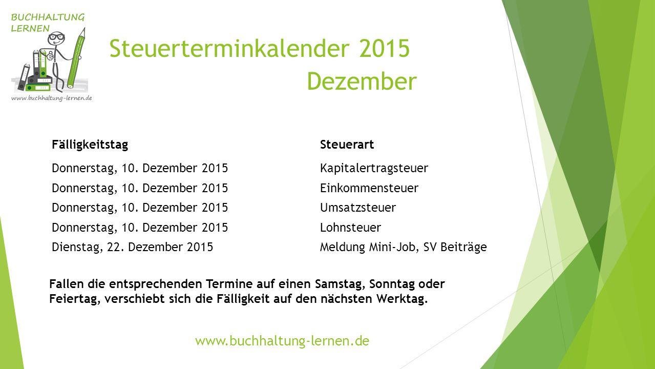 Steuerterminkalender 2015 Dezember FälligkeitstagSteuerart Donnerstag, 10. Dezember 2015Kapitalertragsteuer Donnerstag, 10. Dezember 2015Einkommensteu