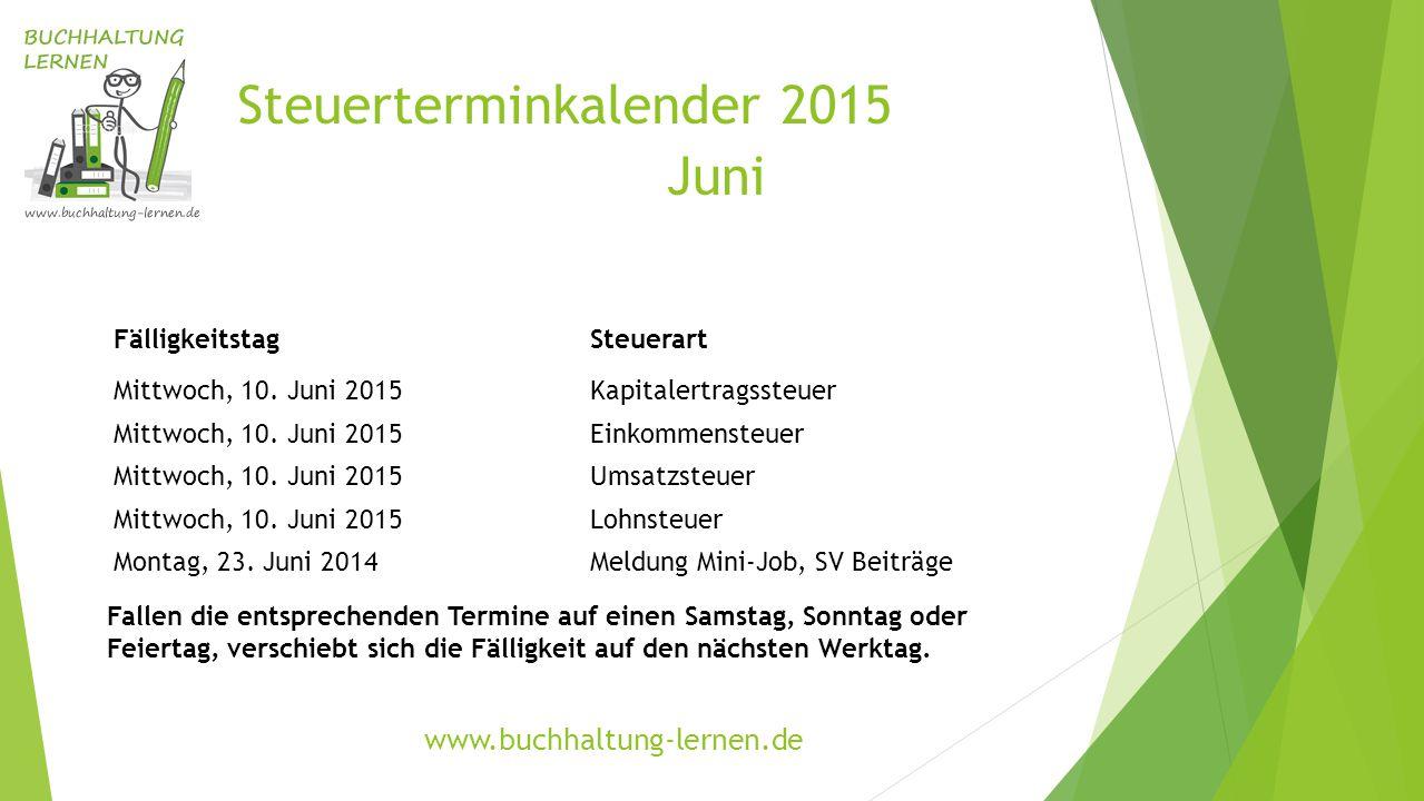 Steuerterminkalender 2015 Juni FälligkeitstagSteuerart Mittwoch, 10. Juni 2015Kapitalertragssteuer Mittwoch, 10. Juni 2015Einkommensteuer Mittwoch, 10