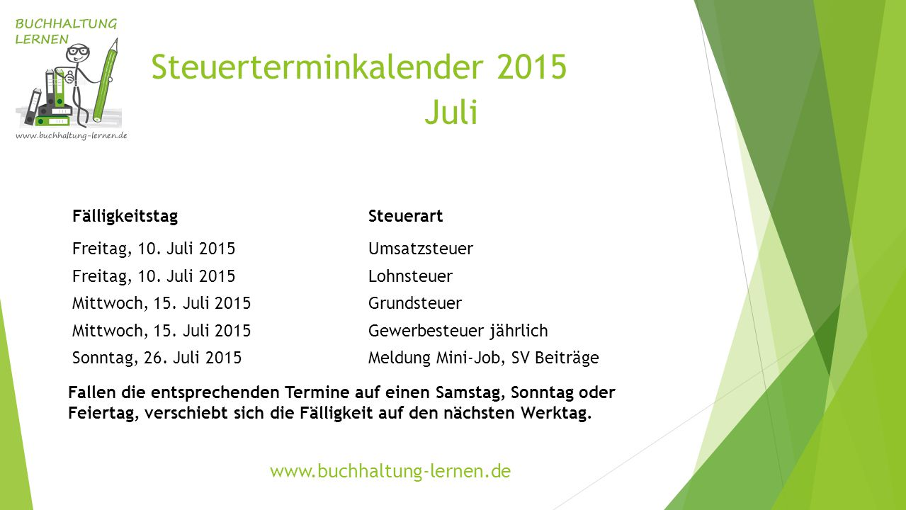 Steuerterminkalender 2015 Juli FälligkeitstagSteuerart Freitag, 10. Juli 2015Umsatzsteuer Freitag, 10. Juli 2015Lohnsteuer Mittwoch, 15. Juli 2015Grun