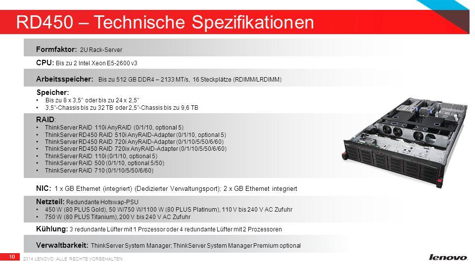 10 RD450 – Technische Spezifikationen 2014 LENOVO.