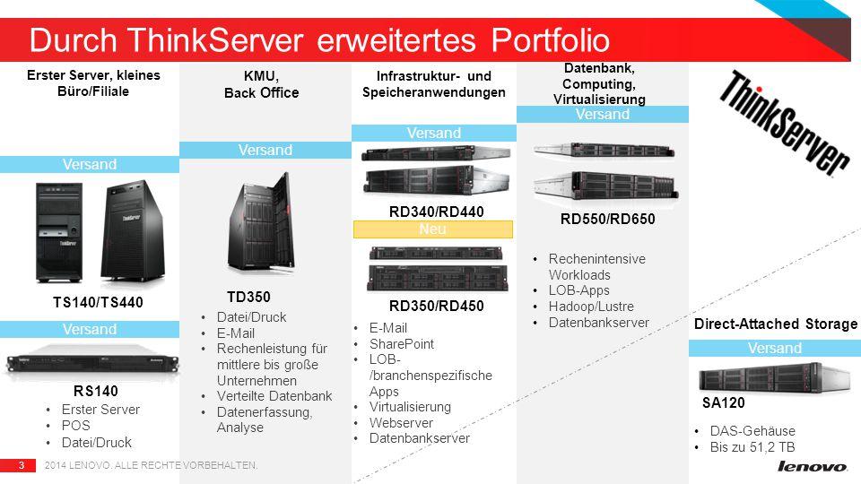 3 Durch ThinkServer erweitertes Portfolio 2014 LENOVO.