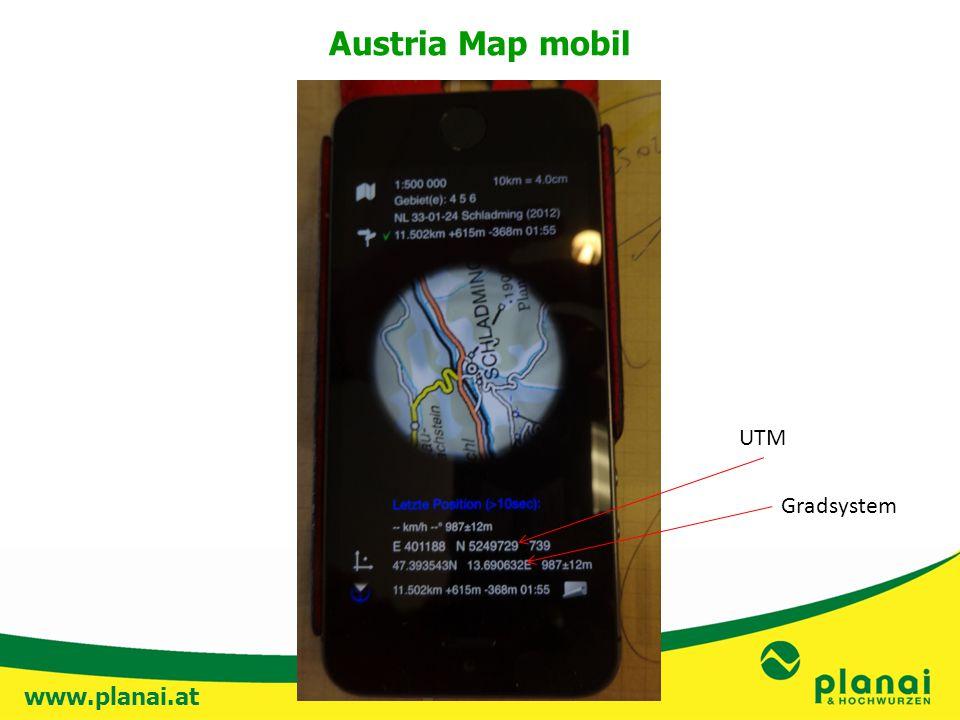 www.planai.at UTM Gradsystem Austria Map mobil