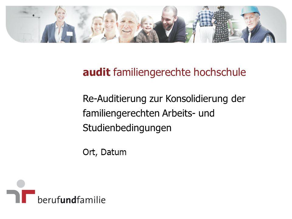 Bei der Re-Auditierung Konsolidierung werden folgende Kriterien überprüft Familiengerechte Ausrichtung ist Teil der Hochschulphilosophie und der Hochschulstrategie.