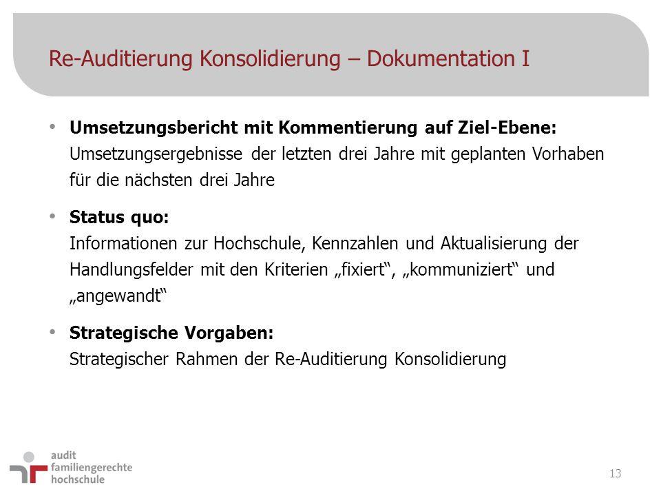 Re-Auditierung Konsolidierung – Dokumentation I Umsetzungsbericht mit Kommentierung auf Ziel-Ebene: Umsetzungsergebnisse der letzten drei Jahre mit ge