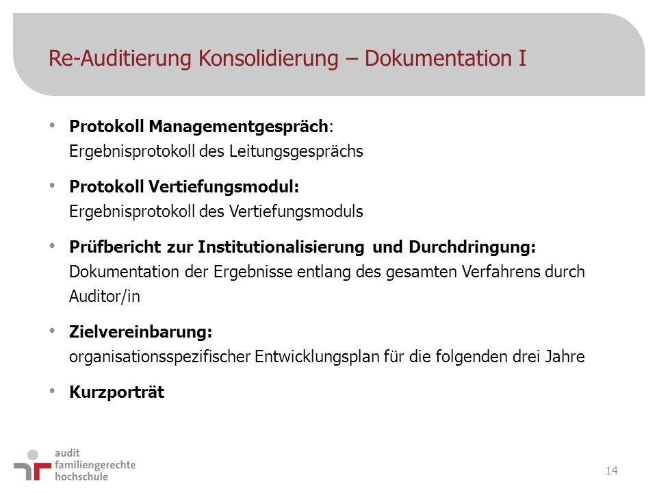 Re-Auditierung Konsolidierung – Dokumentation I Protokoll Managementgespräch: Ergebnisprotokoll des Leitungsgesprächs Protokoll Vertiefungsmodul: Erge