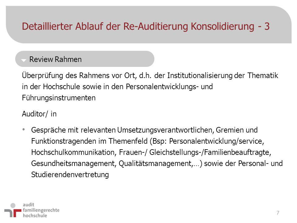 Detaillierter Ablauf der Re-Auditierung Konsolidierung - 3 Überprüfung des Rahmens vor Ort, d.h. der Institutionalisierung der Thematik in der Hochsch