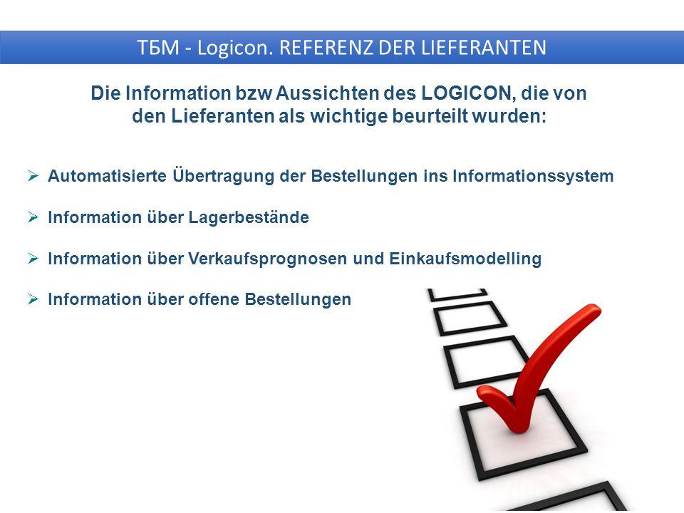 Die Information bzw Aussichten des LOGICON, die von den Lieferanten als wichtige beurteilt wurden:  Automatisierte Übertragung der Bestellungen ins Informationssystem  Information über Lagerbestände  Information über Verkaufsprognosen und Einkaufsmodelling  Information über offene Bestellungen ТБМ - Logicon.