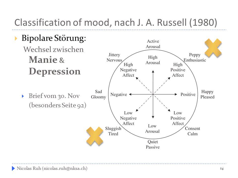 Classification of mood, nach J. A. Russell (1980)  Bipolare Störung: Wechsel zwischen Manie & Depression  Brief vom 30. Nov (besonders Seite 92) Nic