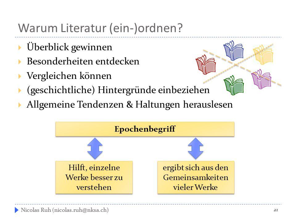 Warum Literatur (ein-)ordnen?  Überblick gewinnen  Besonderheiten entdecken  Vergleichen können  (geschichtliche) Hintergründe einbeziehen  Allge