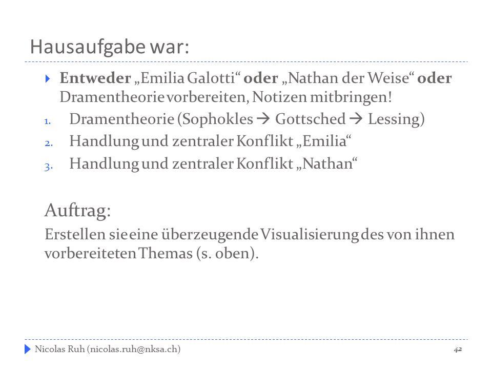 """Hausaufgabe war:  Entweder """"Emilia Galotti"""" oder """"Nathan der Weise"""" oder Dramentheorie vorbereiten, Notizen mitbringen! 1. Dramentheorie (Sophokles """
