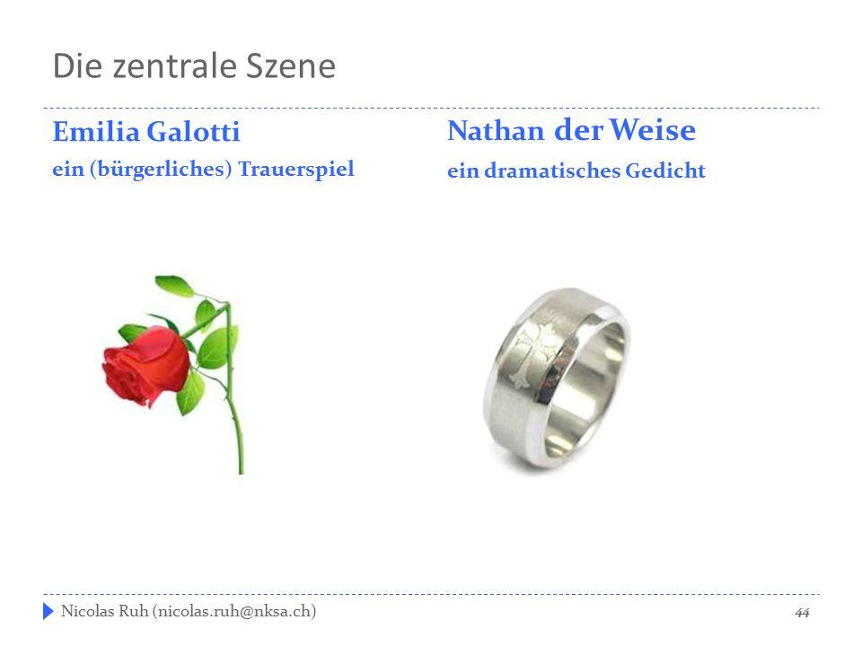 Die zentrale Szene Emilia Galotti ein (bürgerliches) Trauerspiel Nathan der Weise ein dramatisches Gedicht 44 Nicolas Ruh (nicolas.ruh@nksa.ch)