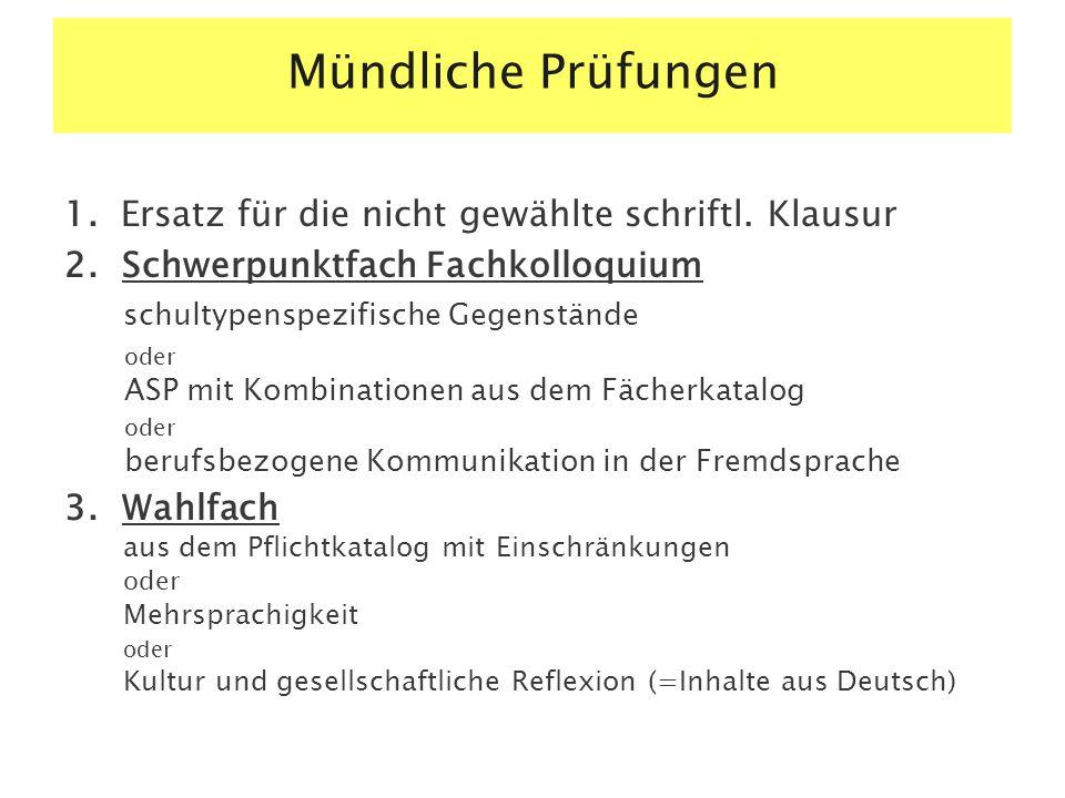 Mündliche Prüfungen 1.Ersatz für die nicht gewählte schriftl.