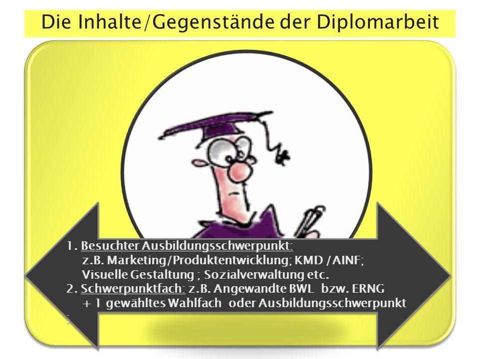 Die Inhalte/Gegenstände der Diplomarbeit 1.Besuchter Ausbildungsschwerpunkt: z.B.