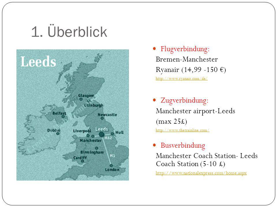 1. Überblick Flugverbindung: Bremen-Manchester Ryanair (14,99 -150 €) http://www.ryanair.com/de/ Zugverbindung: Manchester airport-Leeds (max 25£) htt