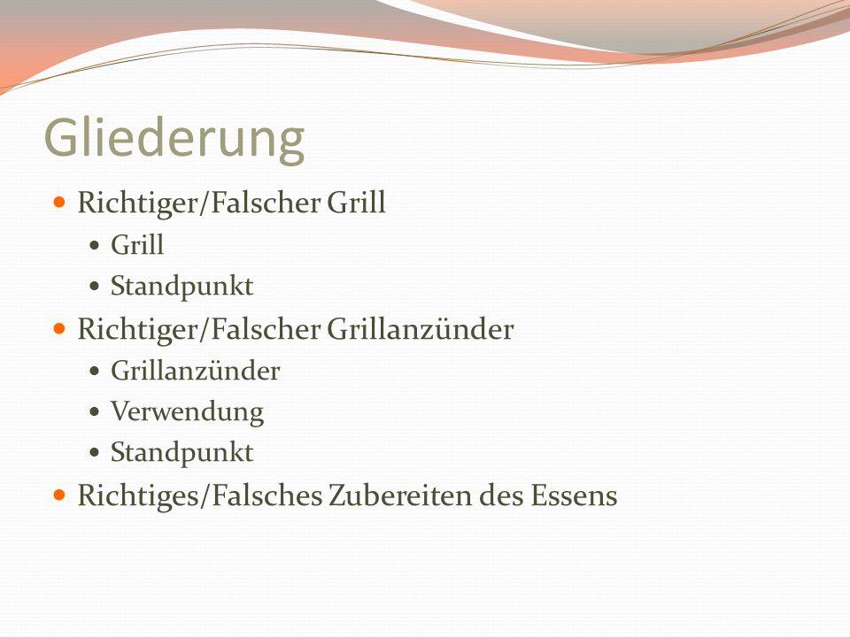 Gliederung Richtiger/Falscher Grill Grill Standpunkt Richtiger/Falscher Grillanzünder Grillanzünder Verwendung Standpunkt Richtiges/Falsches Zubereite