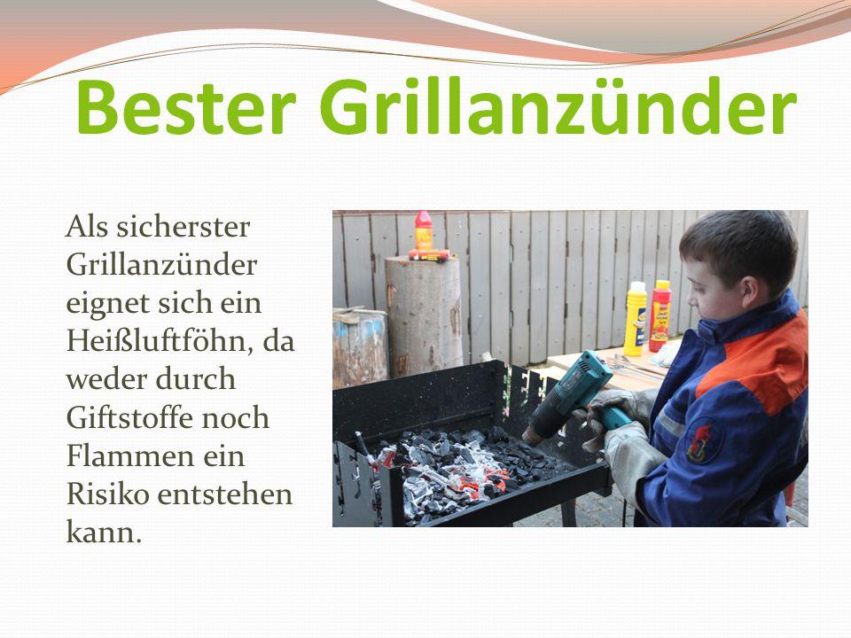 Bester Grillanzünder Als sicherster Grillanzünder eignet sich ein Heißluftföhn, da weder durch Giftstoffe noch Flammen ein Risiko entstehen kann.