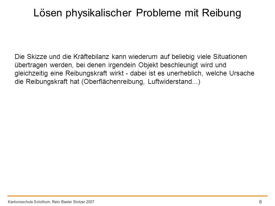 Lösen physikalischer Probleme mit Reibung Kantonsschule Solothurn, Reto Basler Stotzer 2007 6 Die Skizze und die Kräftebilanz kann wiederum auf belieb