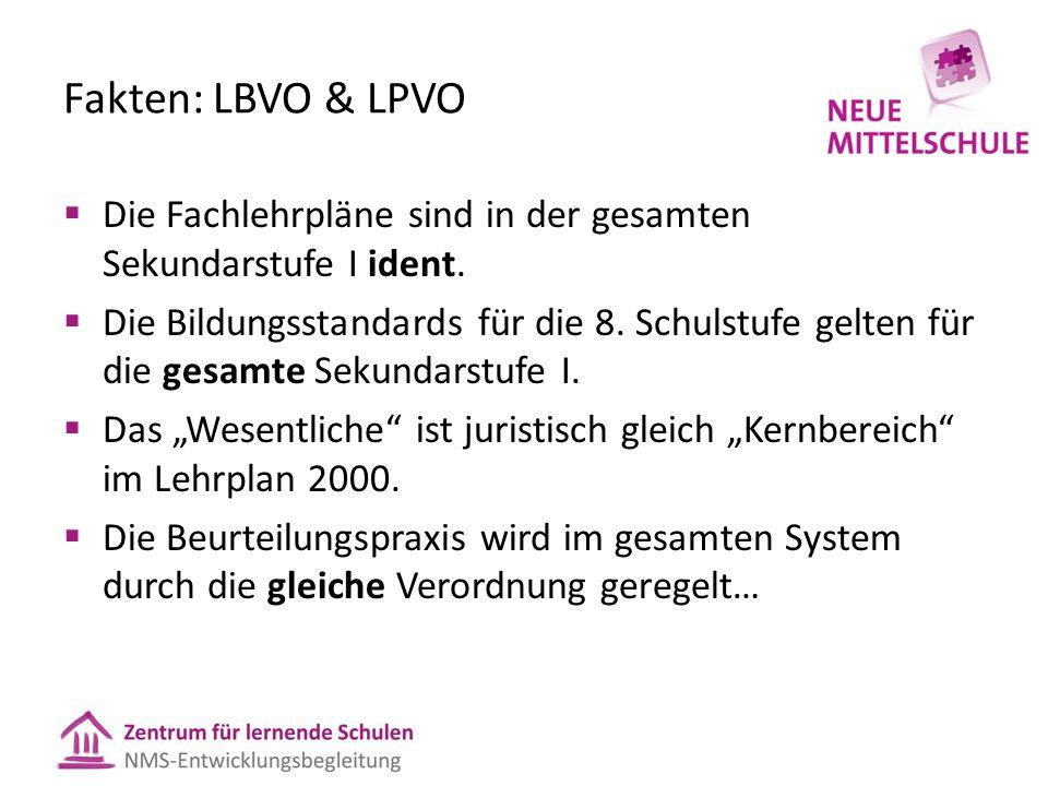 Fakten: LBVO & LPVO  Die Fachlehrpläne sind in der gesamten Sekundarstufe I ident.  Die Bildungsstandards für die 8. Schulstufe gelten für die gesam