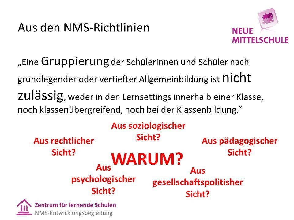 """Aus den NMS-Richtlinien """"Eine Gruppierung der Schülerinnen und Schüler nach grundlegender oder vertiefter Allgemeinbildung ist nicht zulässig, weder in den Lernsettings innerhalb einer Klasse, noch klassenübergreifend, noch bei der Klassenbildung. WARUM."""
