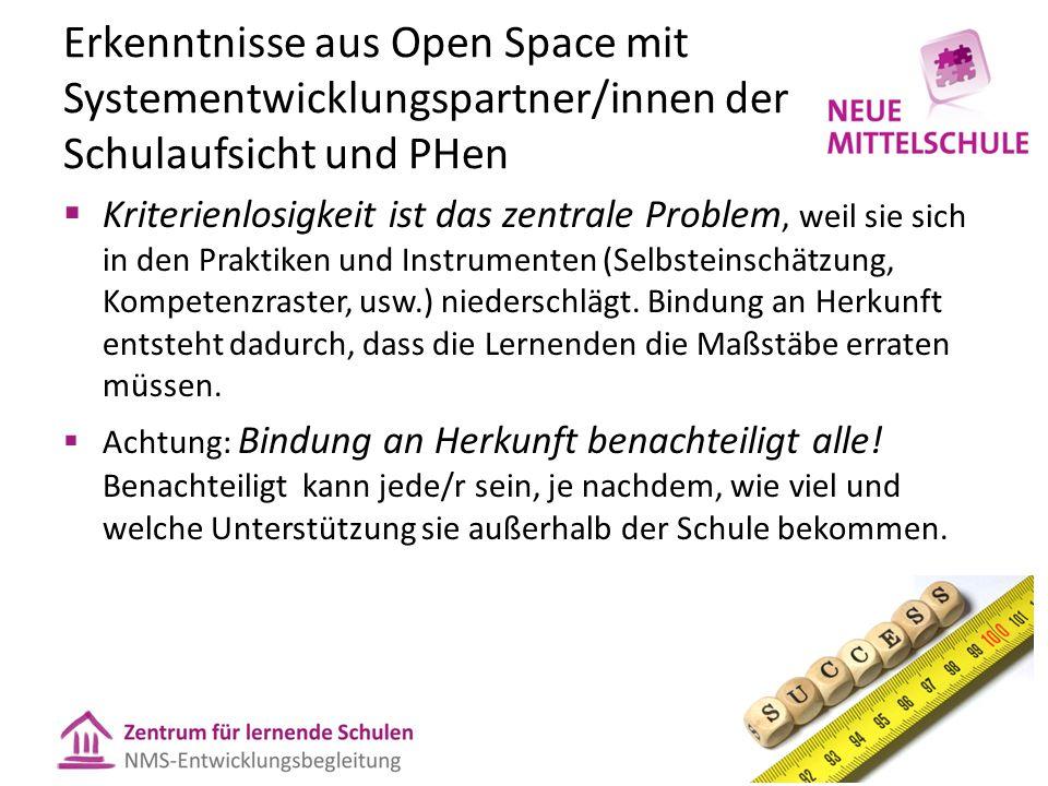 Erkenntnisse aus Open Space mit Systementwicklungspartner/innen der Schulaufsicht und PHen  Kriterienlosigkeit ist das zentrale Problem, weil sie sic