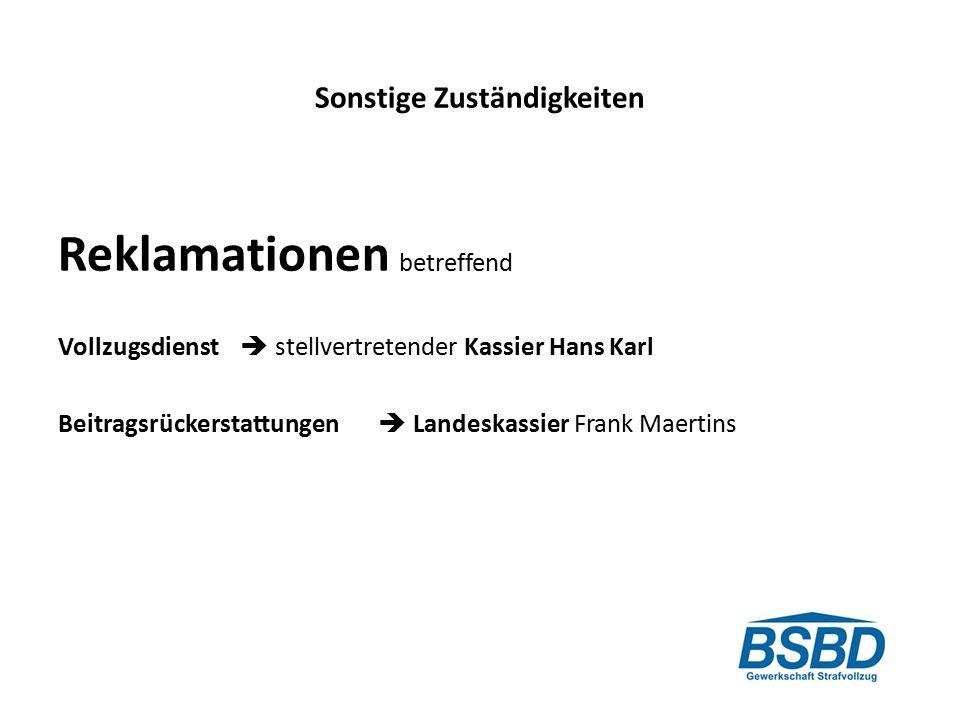 Sonstige Zuständigkeiten Reklamationen betreffend Vollzugsdienst  stellvertretender Kassier Hans Karl Beitragsrückerstattungen  Landeskassier Frank Maertins