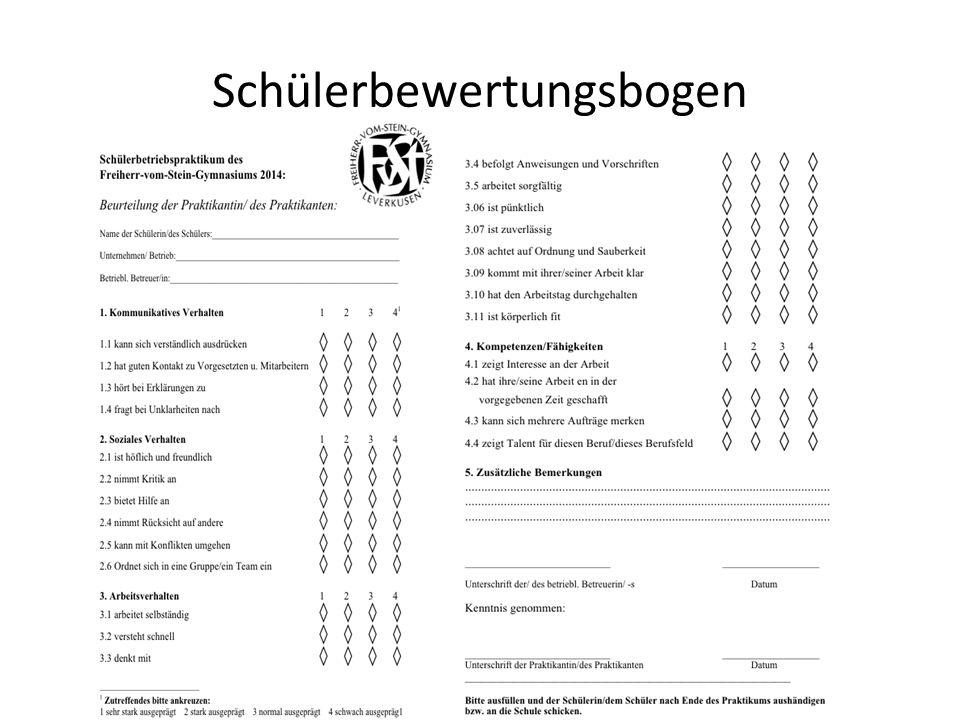 Schülerbewertungsbogen