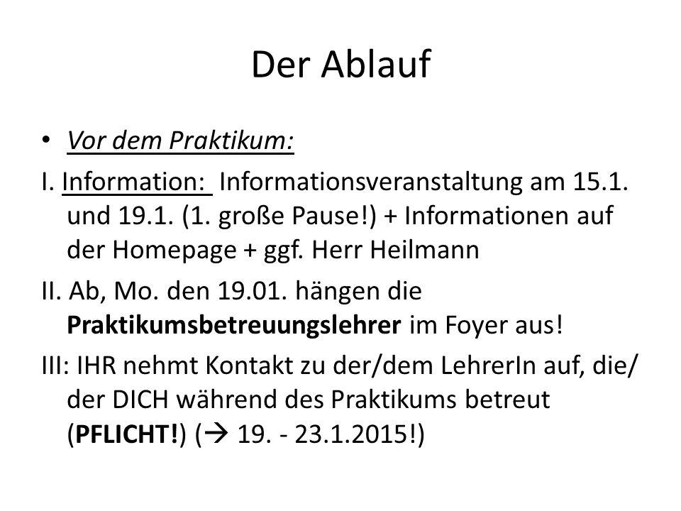 Der Ablauf Vor dem Praktikum: I. Information: Informationsveranstaltung am 15.1. und 19.1. (1. große Pause!) + Informationen auf der Homepage + ggf. H