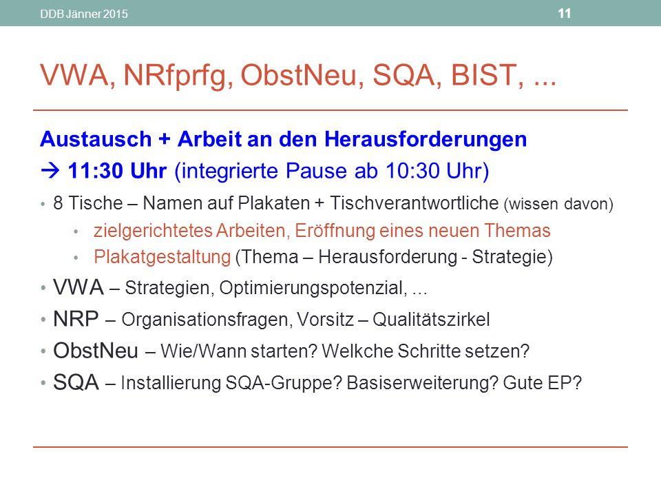 DDB Jänner 2015 11 VWA, NRfprfg, ObstNeu, SQA, BIST,...