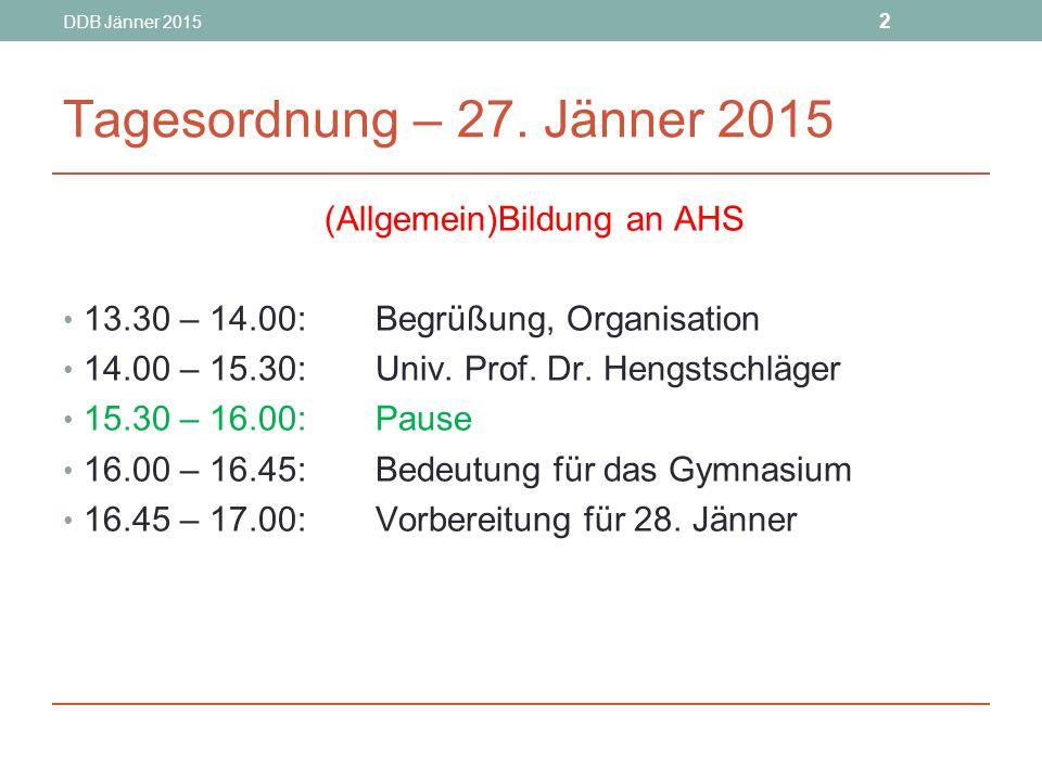 DDB Jänner 2015 53 Übereinkünfte aus LSI-Runden Freistellungen für Schüler/innen für Medizin-Test- Vorbereitung ab SJ 14/15 max.