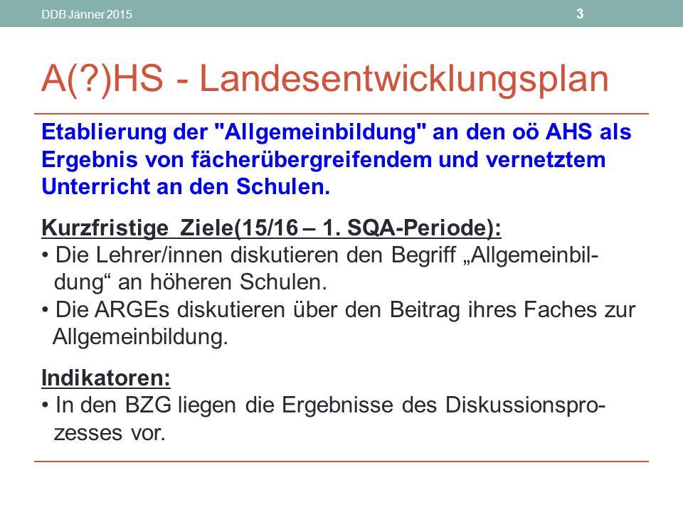 DDB Jänner 2015 3 A(?)HS - Landesentwicklungsplan Etablierung der Allgemeinbildung an den oö AHS als Ergebnis von fächerübergreifendem und vernetztem Unterricht an den Schulen.