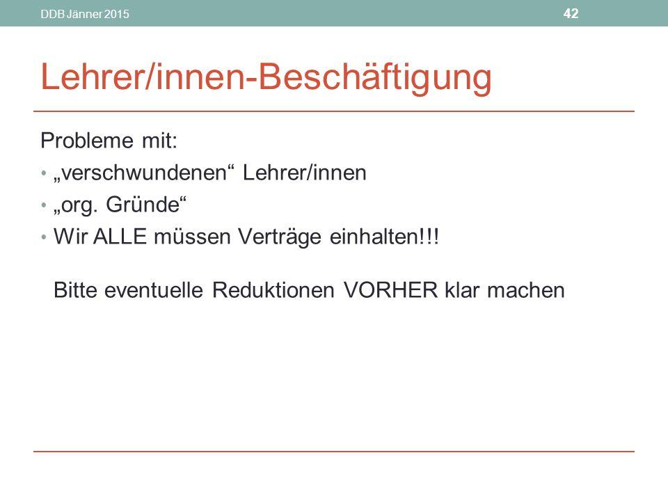"""DDB Jänner 2015 42 Lehrer/innen-Beschäftigung Probleme mit: """"verschwundenen Lehrer/innen """"org."""