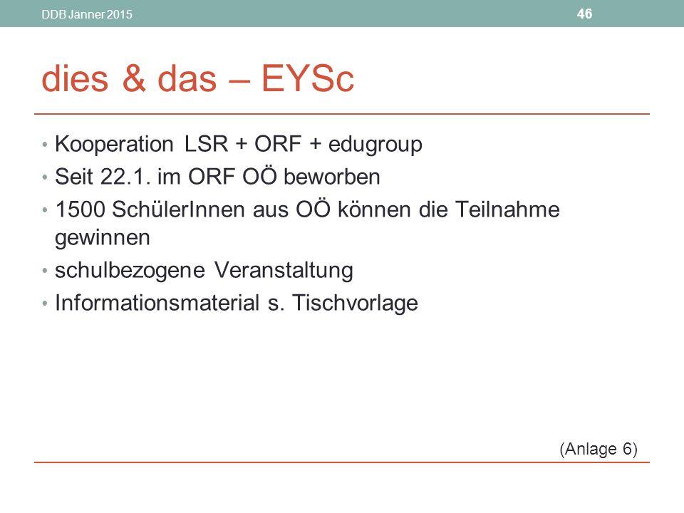 DDB Jänner 2015 46 dies & das – EYSc Kooperation LSR + ORF + edugroup Seit 22.1.