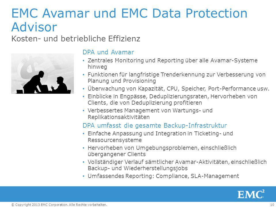 10© Copyright 2013 EMC Corporation. Alle Rechte vorbehalten. EMC Avamar und EMC Data Protection Advisor Kosten- und betriebliche Effizienz DPA und Ava