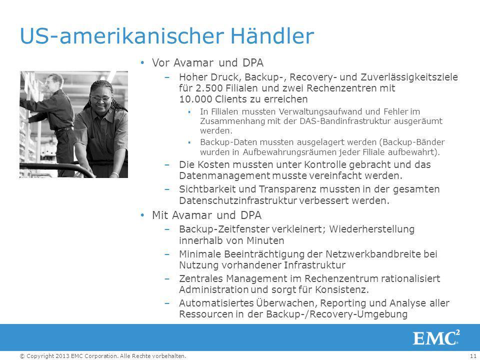11© Copyright 2013 EMC Corporation. Alle Rechte vorbehalten. US-amerikanischer Händler  Vor Avamar und DPA –Hoher Druck, Backup-, Recovery- und Zuver